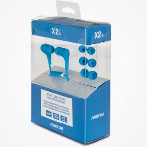 X2 Mini auriculares estéreo Hi-Fi con micrófono azul
