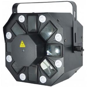 Sistema iluminación con efecto de 15 W LED, estrobo de 8 W LED y láser
